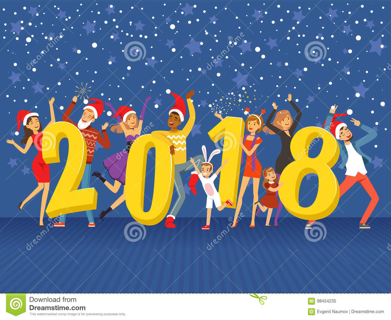 happy new year 2018 party people celebrating colorful vector illustration