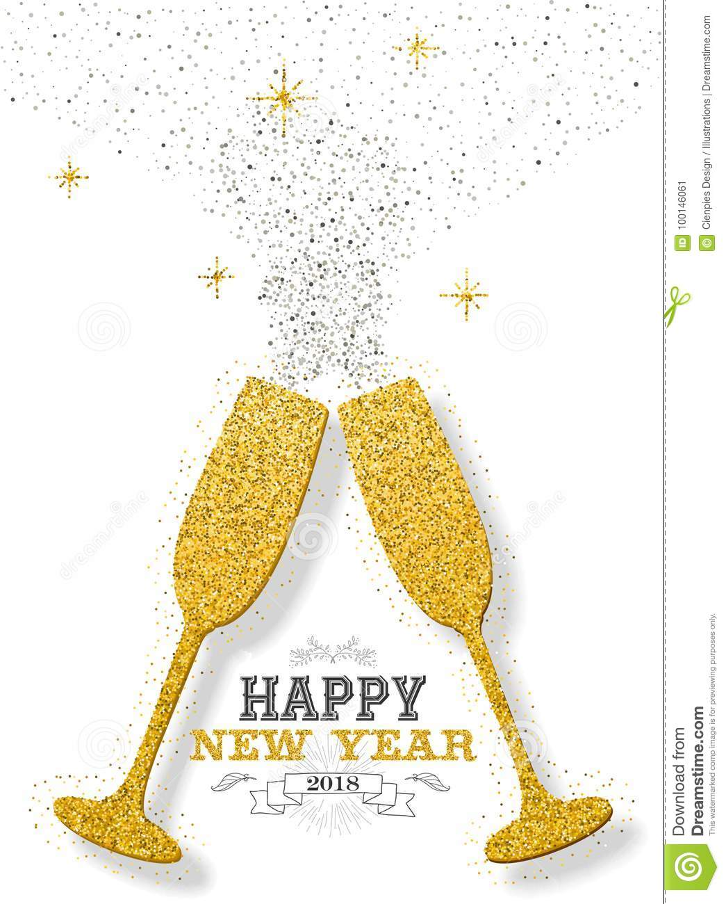 Happy New Year 2018 Party Toast Gold Glitter Card Stock Vector ...