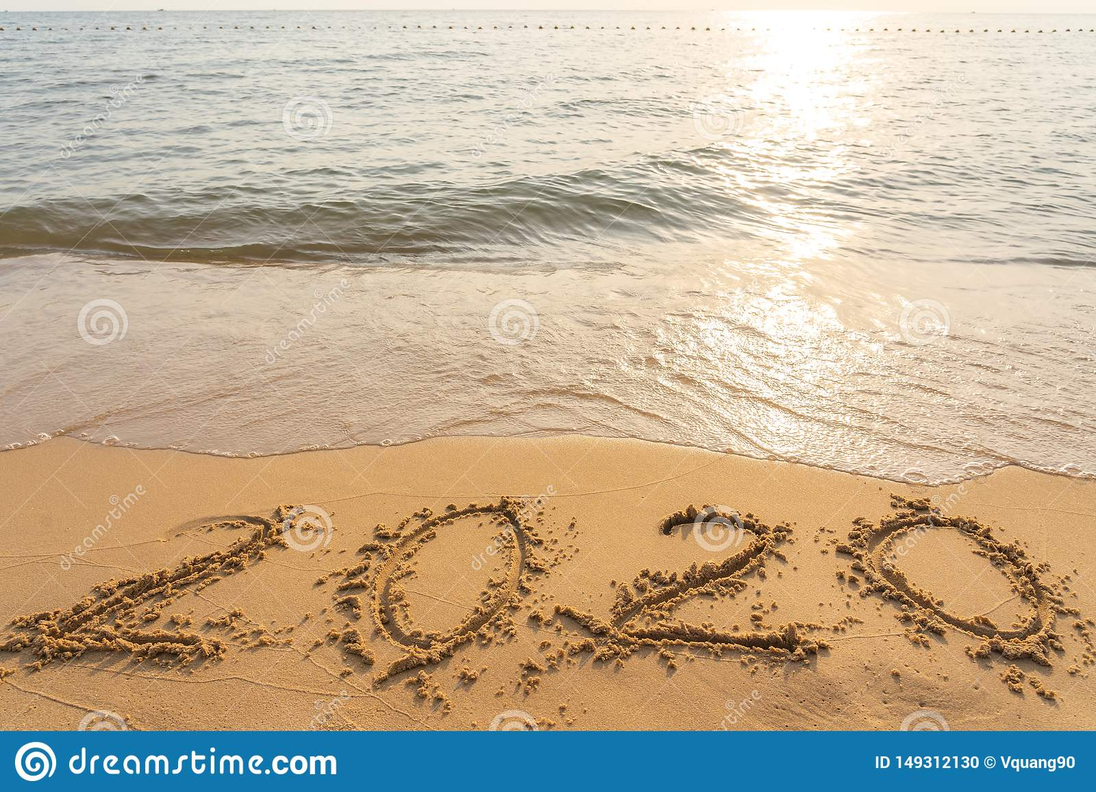 Happy New Year 2020 On The Peaceful Sand Beach Stock Photo