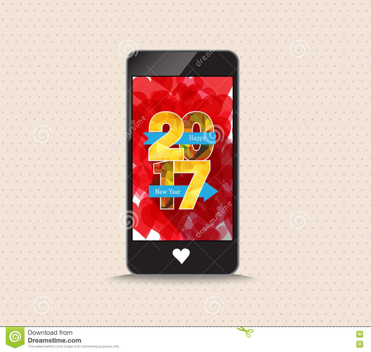 Happy New Year 2017 With Phone Greeting Card Stock Vector