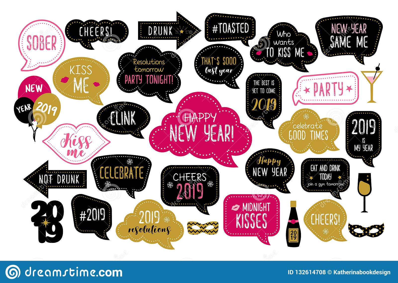 Happy New Year 2019 Photo Booth Props Stock Vector ...