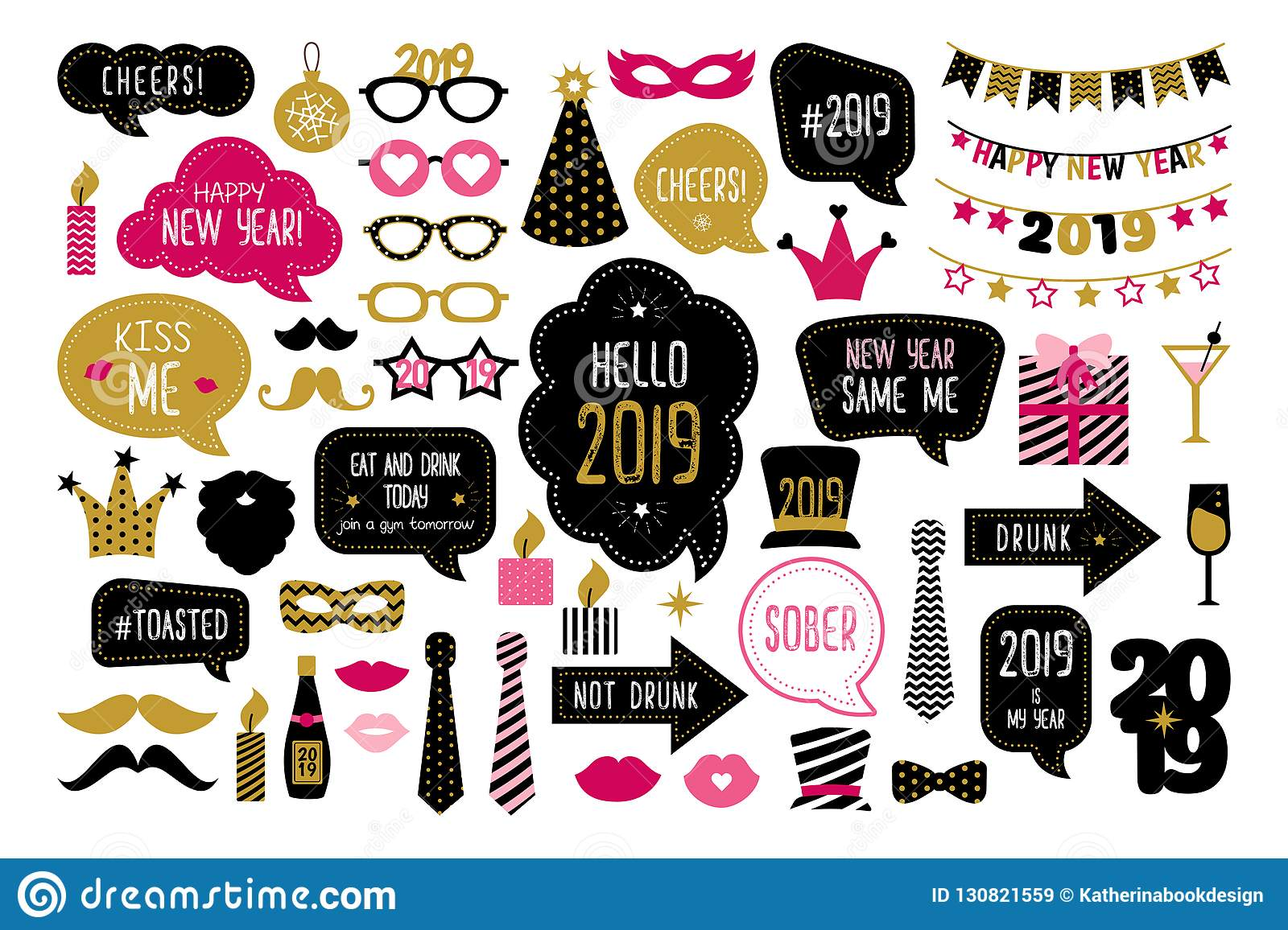 Happy New Year 2019 Photo Booth Props Stock Vector Illustration Of