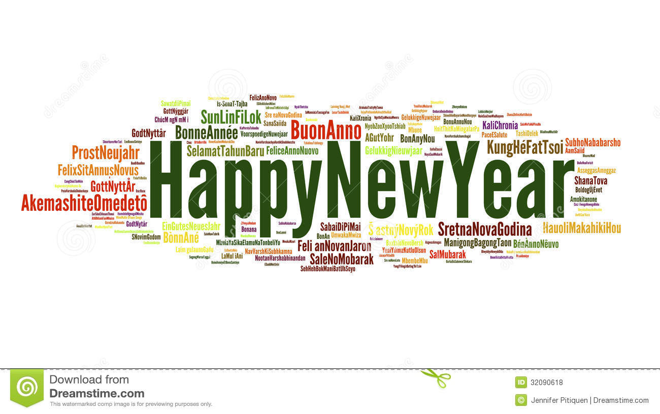 the phrase happy new year in different languages with the more widely spoken in bigger fonts in white background