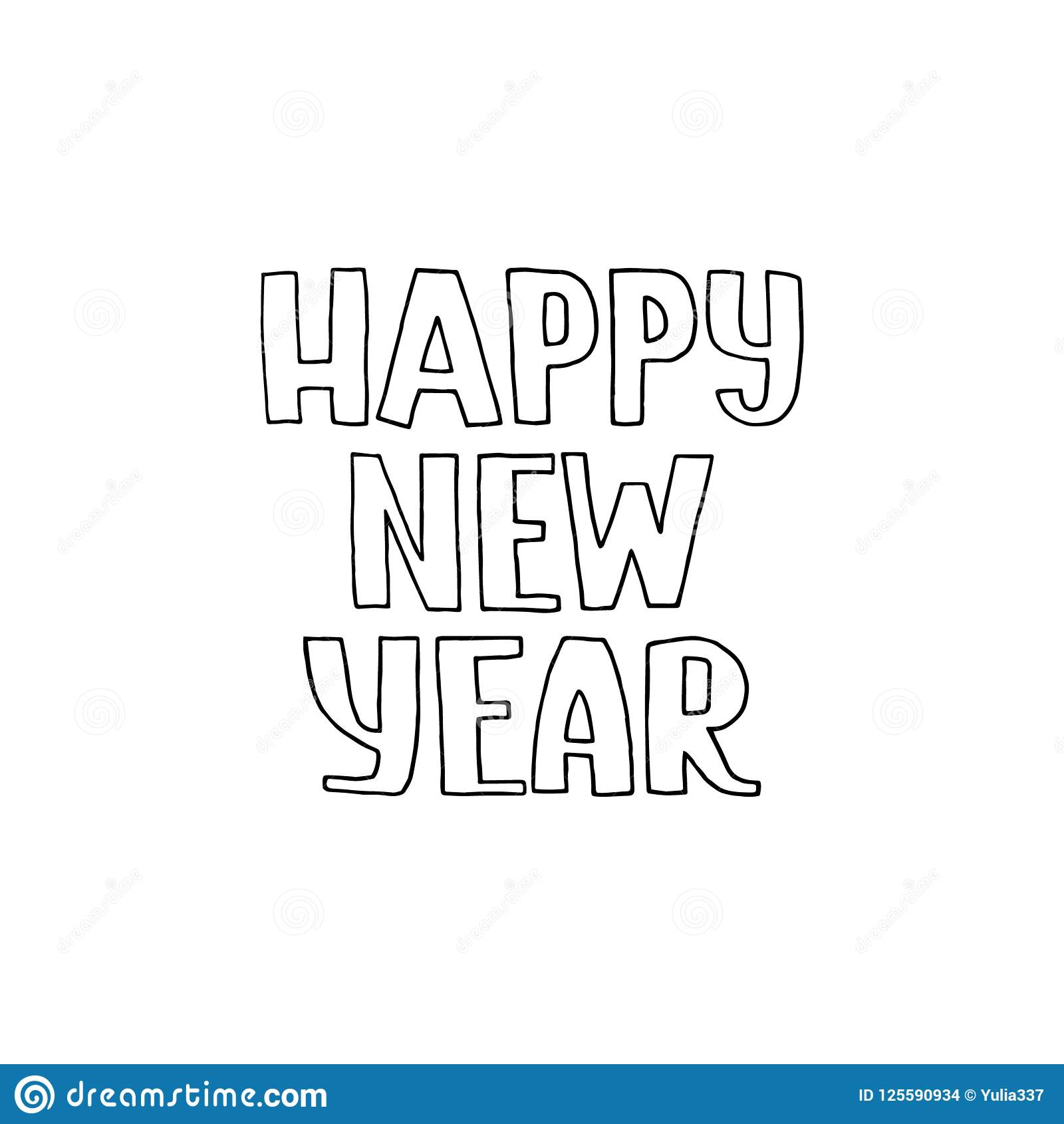 Happy New Year Phrase In Vector Stock Vector - Illustration of ...