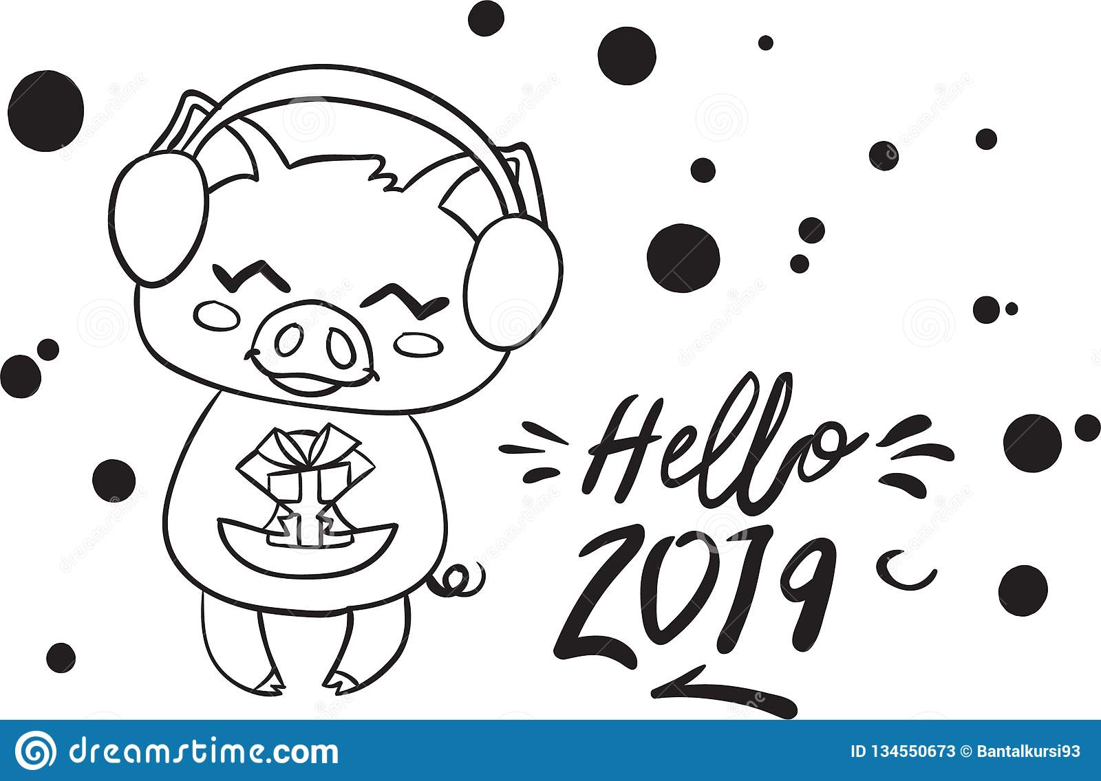 Happy New Year 2019 Pig Coloring Page For Kid Stock Vector