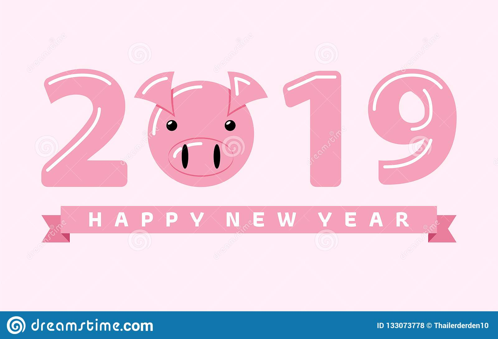 Happy New Year 2019 Year Of The Pig Stock Vector - Illustration of