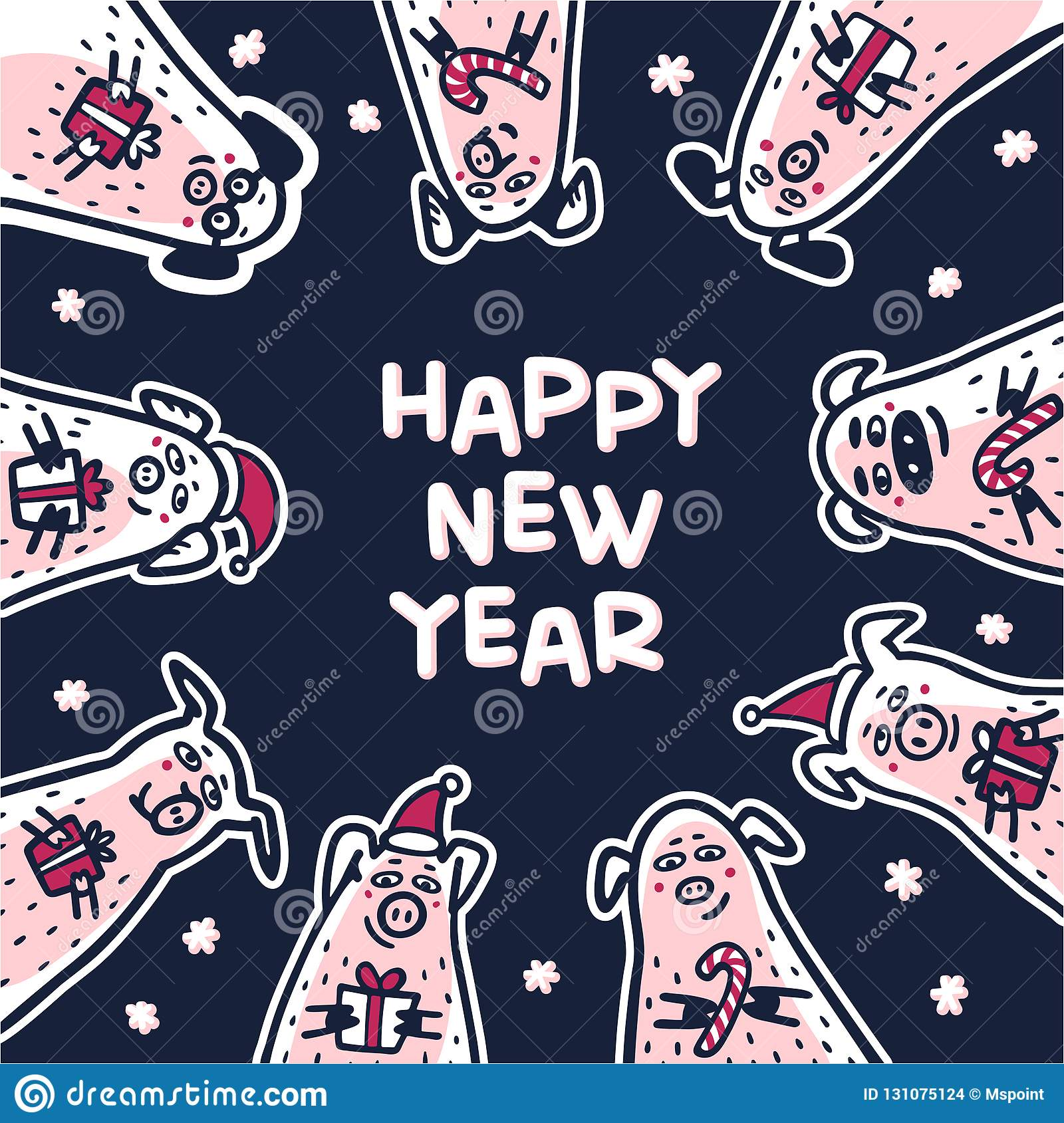 73facfcf22250 Happy New Year Pig Greeting Card. Funny Pigs With Candy Canes