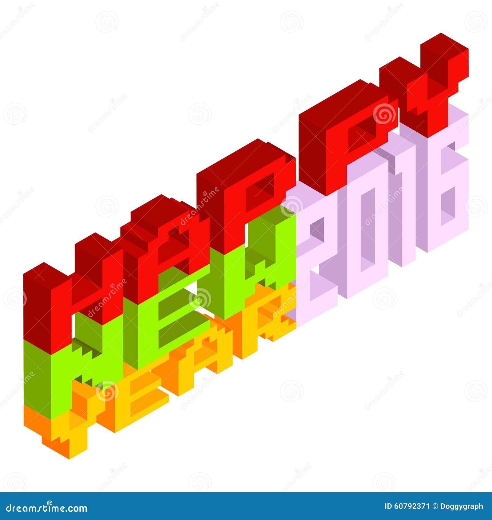 happy new year 2016 pixel art 8 bit style