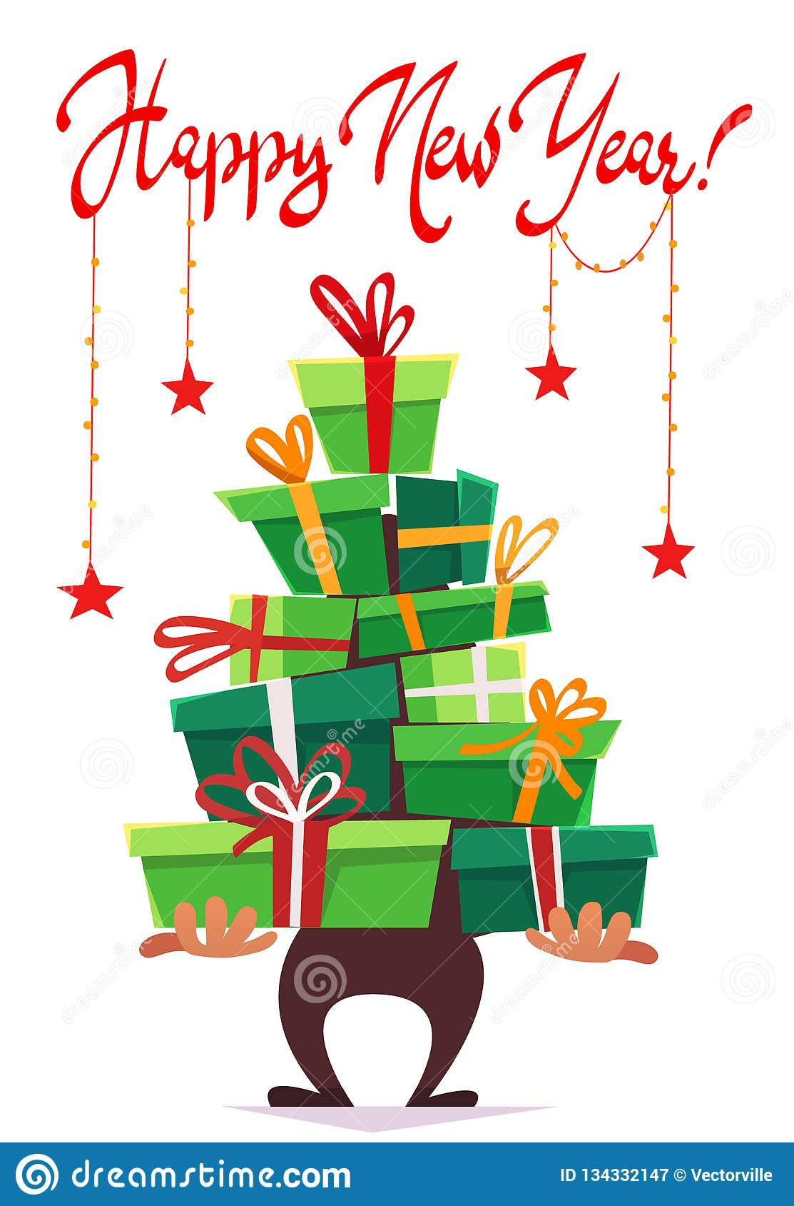 Happy new year post card greeting party invitation , lot many gift boxes of gifts stack triangle stand christmas tree form with ri