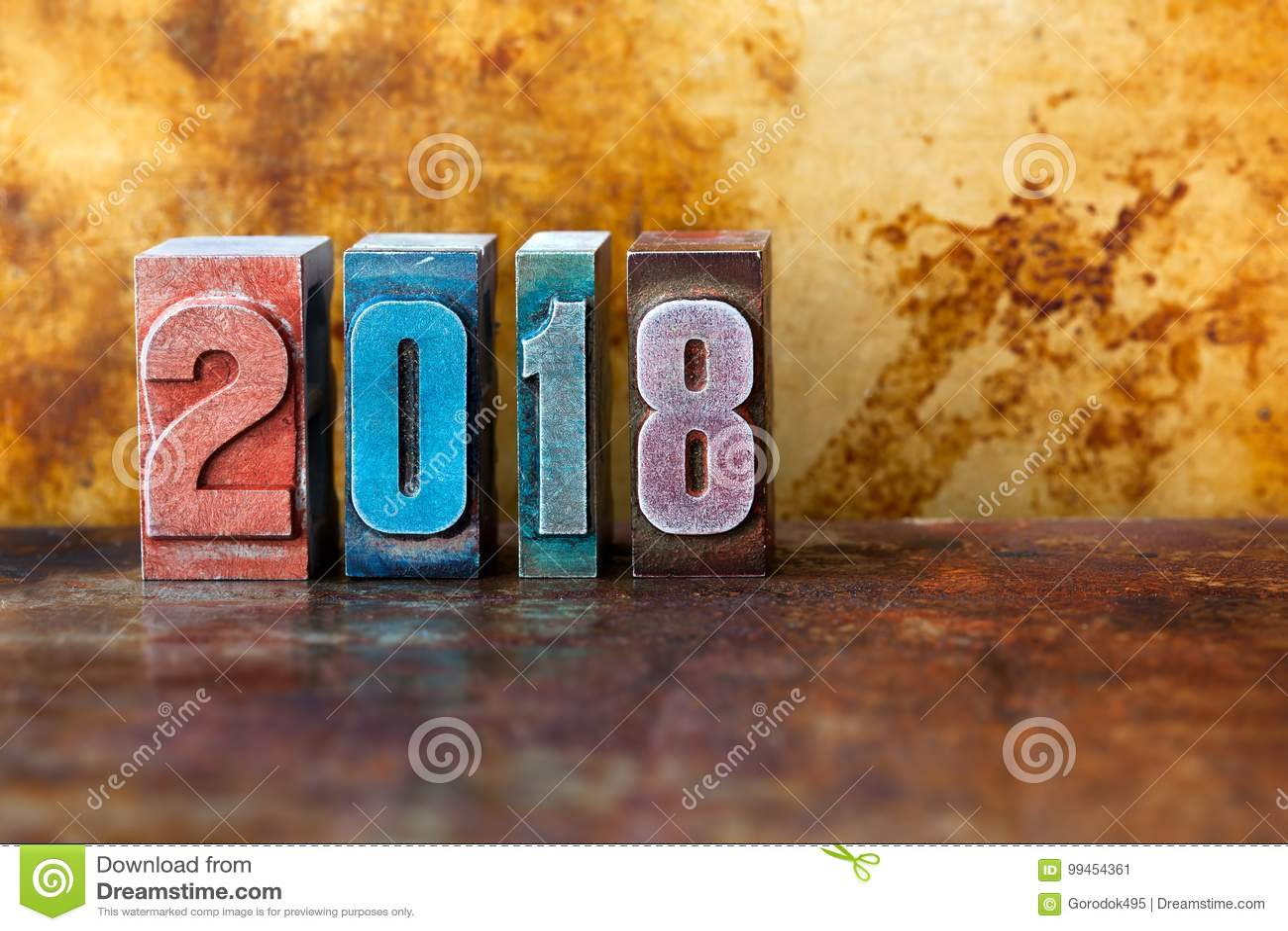 2018 happy new year postcard. Colorful letterpress digits symbol winter holidays. Creative retro style design xmas