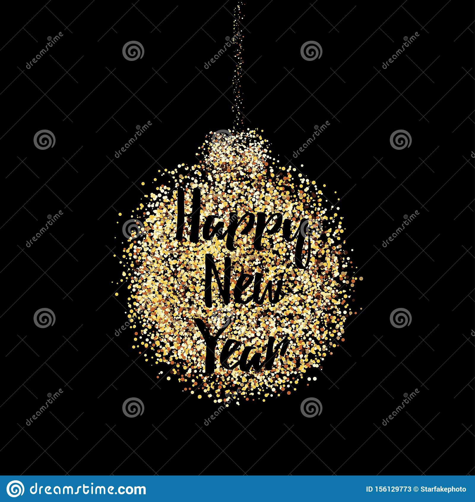 Happy new year postcard decoration with confetti