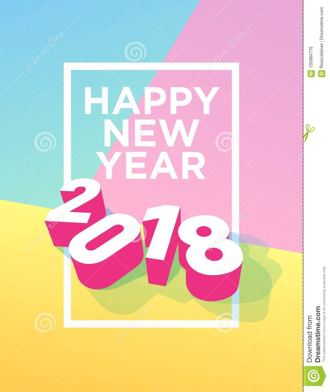 happy new year 2018 postcard with frame and pastel colours
