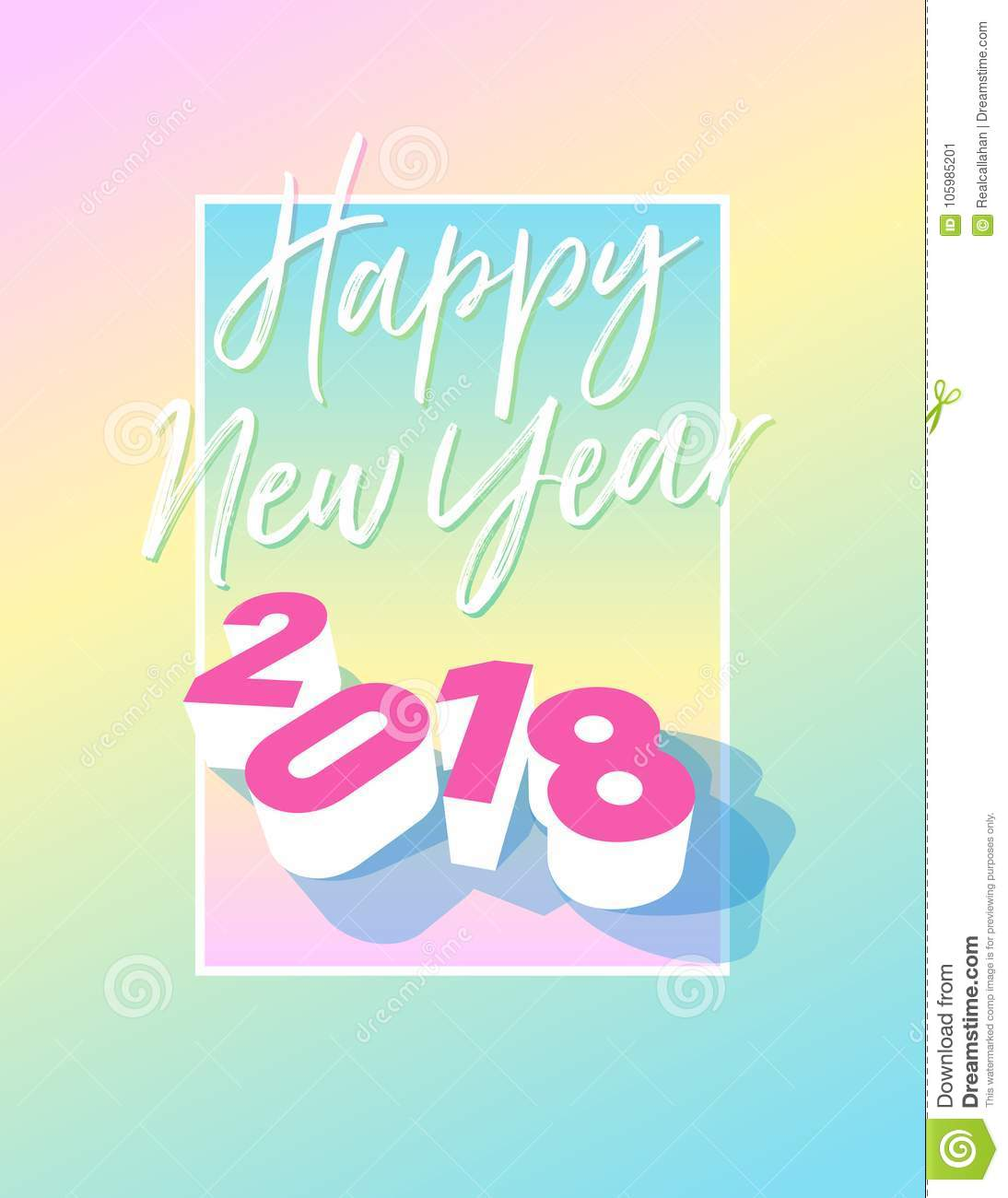 happy new year 2018 postcard with frame and pastel colours vector eps 10 template for postcard invitation banner website flyer newsletter email and