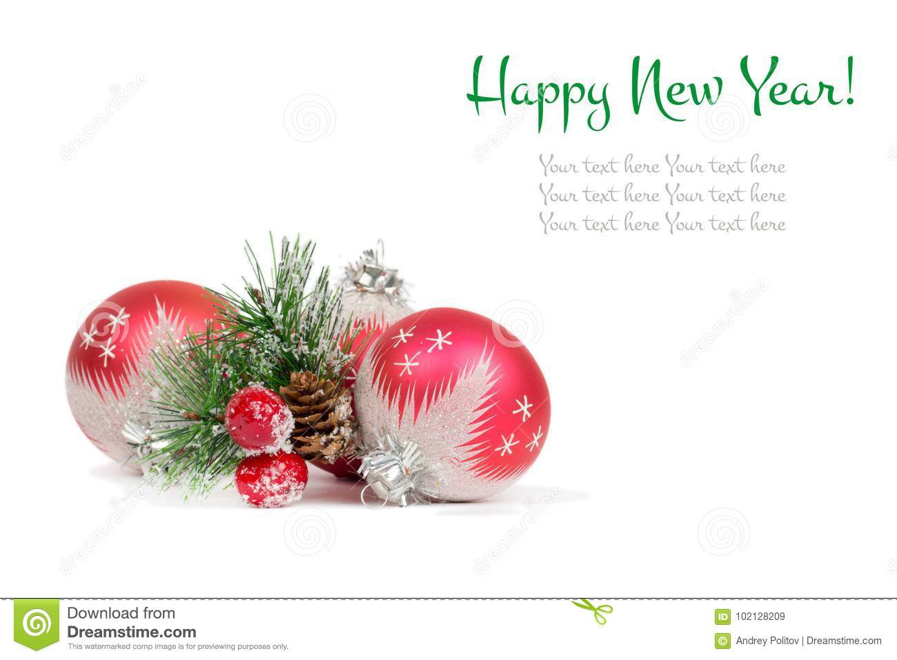Happy New Year postcard stock image. Image of decoration - 102128209