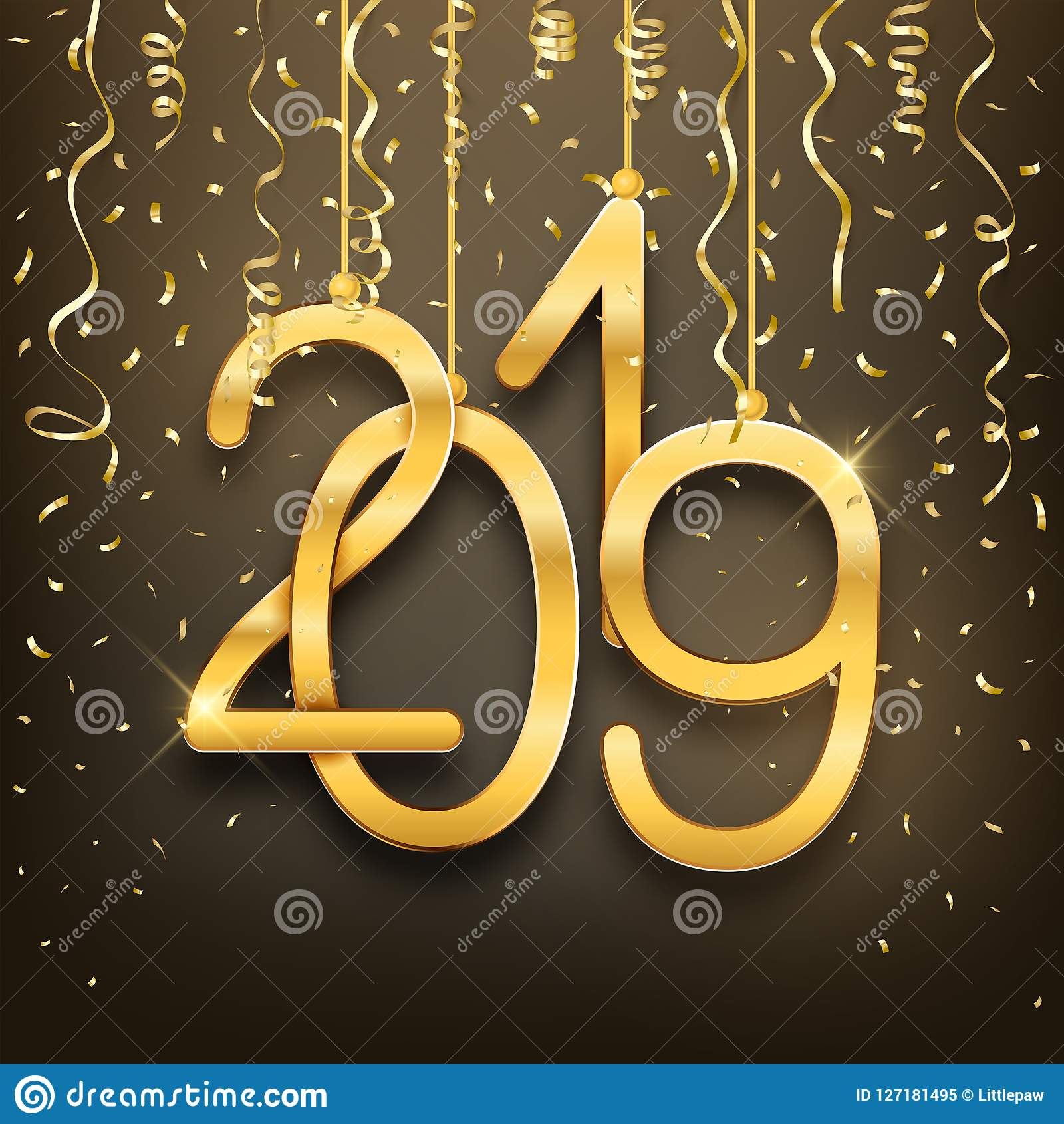 Happy New Year 2019 postcard realistic golden numbers and confetti