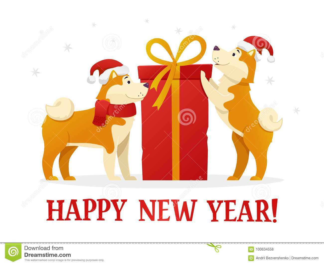 happy new year 2018 postcard template with two cute yellow dogs with the dig red gift