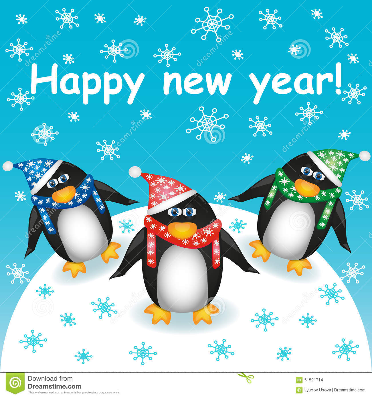 happy new year postcard with three cute cartoon penguins in hats and scarves against the