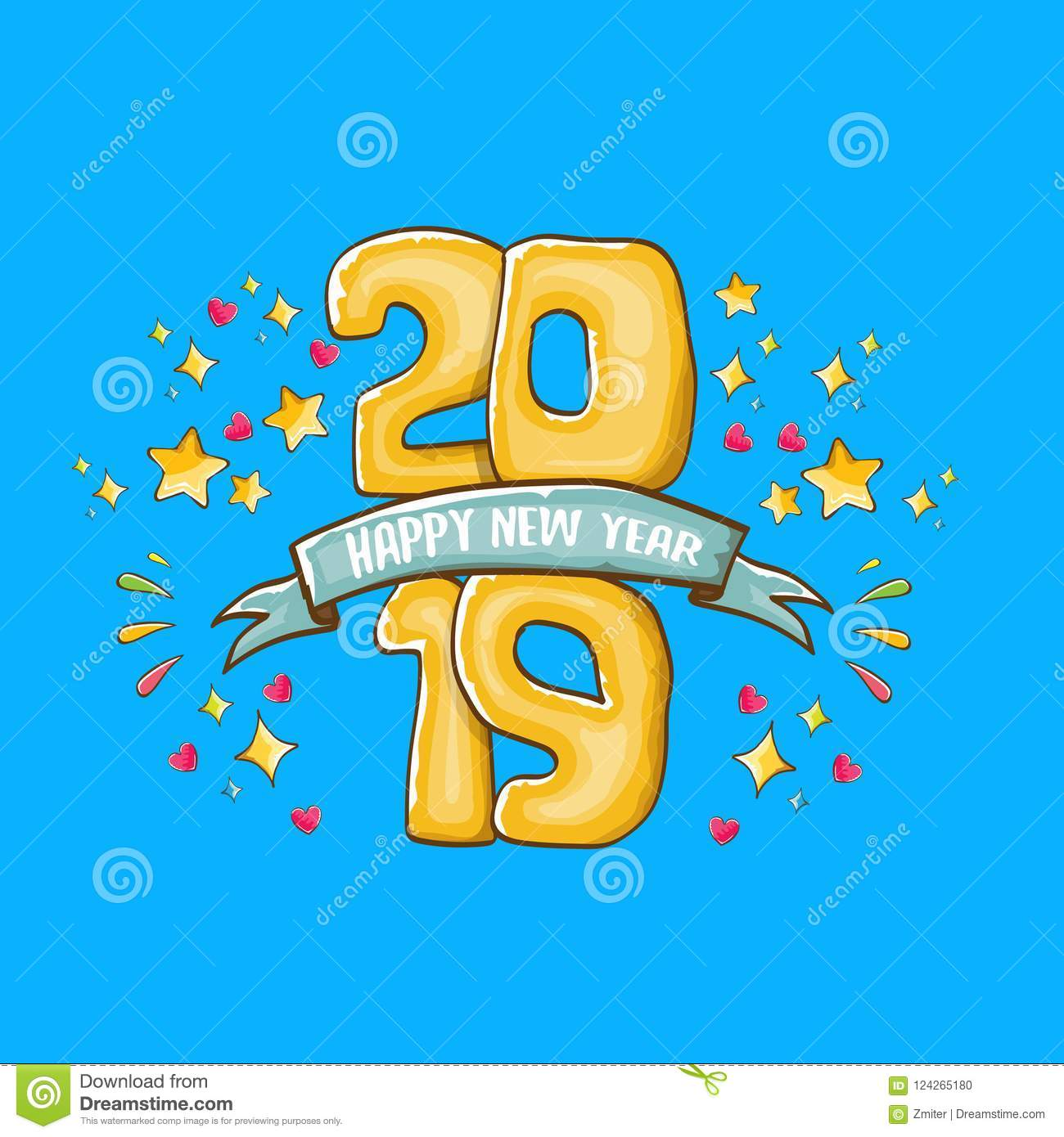 2019 happy new year poster design template vector happy new year greeting illustration with colored