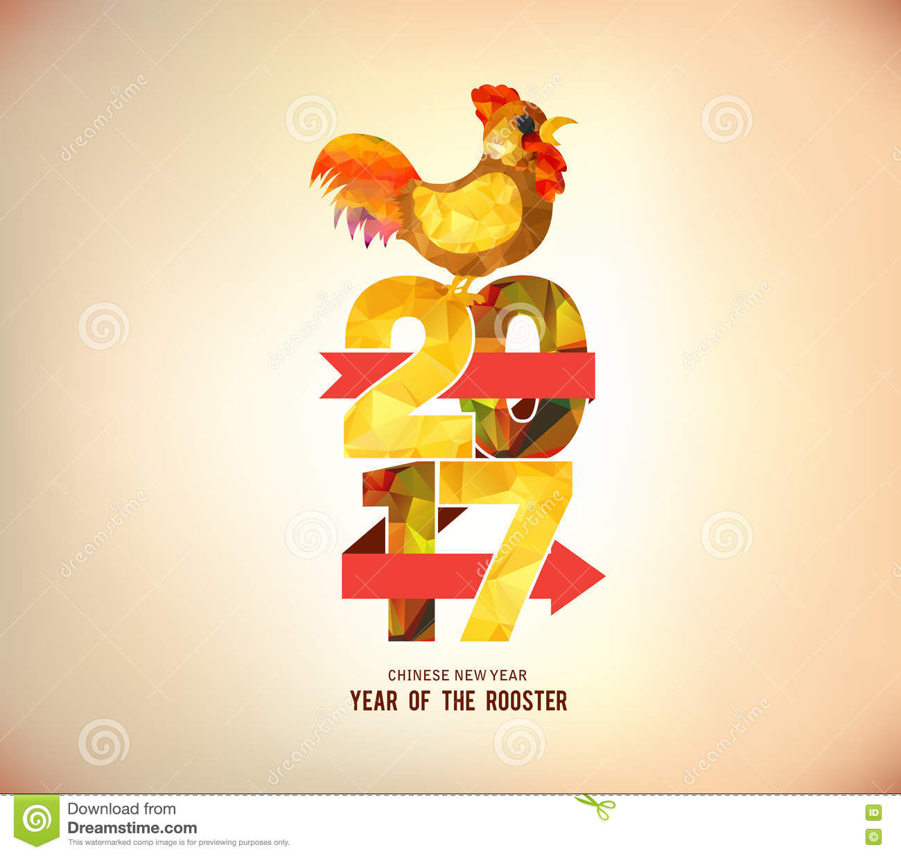 happy new year 2017 poster design with colorful triangle shape and