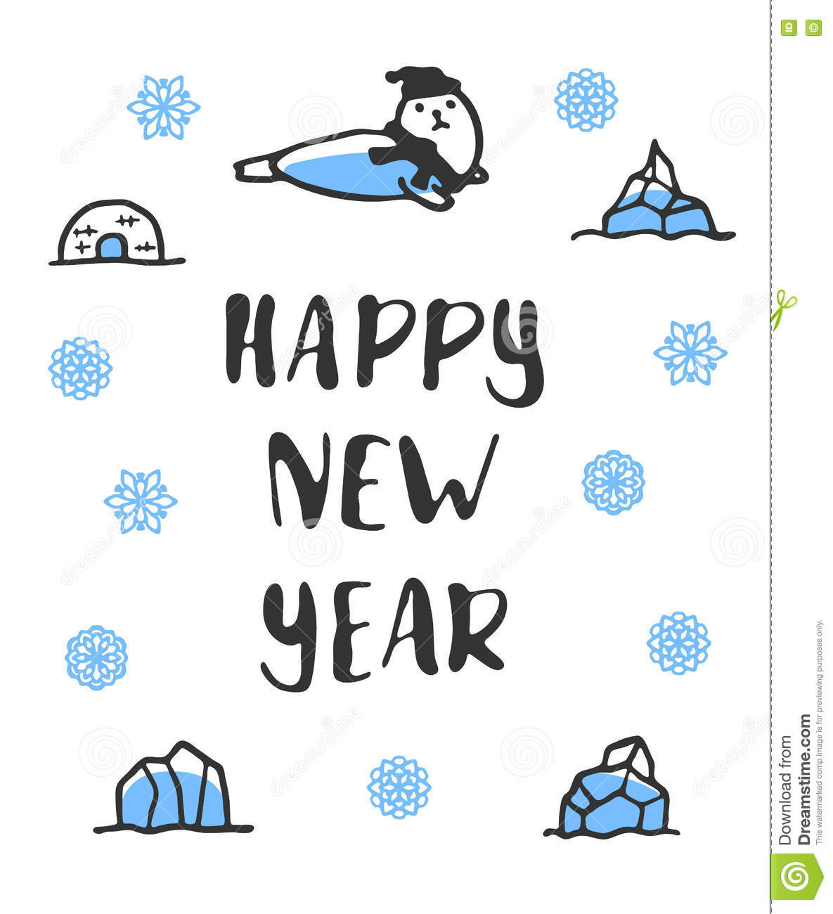 Happy New Year Poster. Funny Doodle Seal Stock Vector - Illustration ...