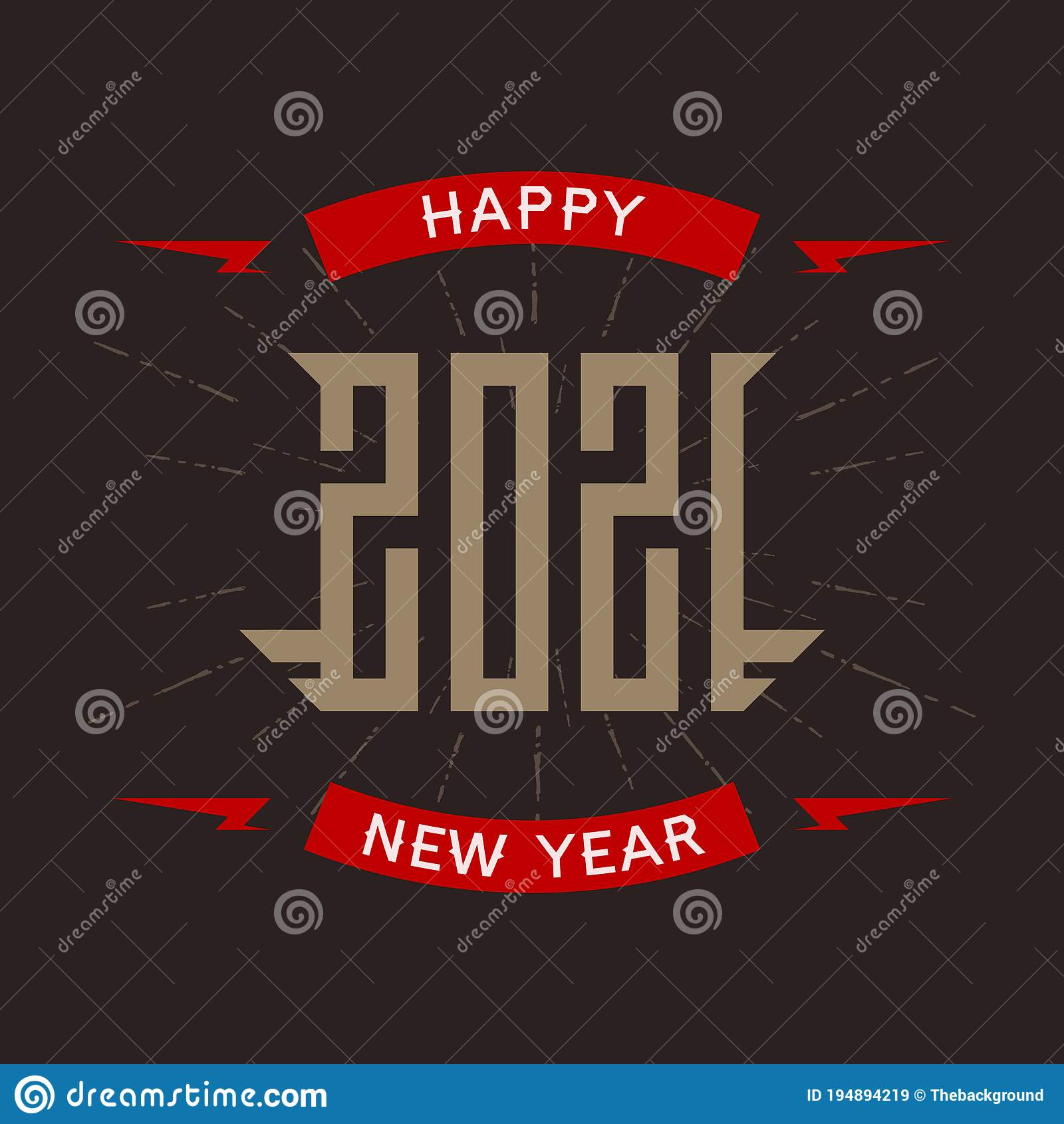 Happy New Year 2021 Poster With Stylized Inscription And Red Lightnings T Shirt Apparels Cool Print With Inscription Stock Vector Illustration Of Badge Cool 194894219