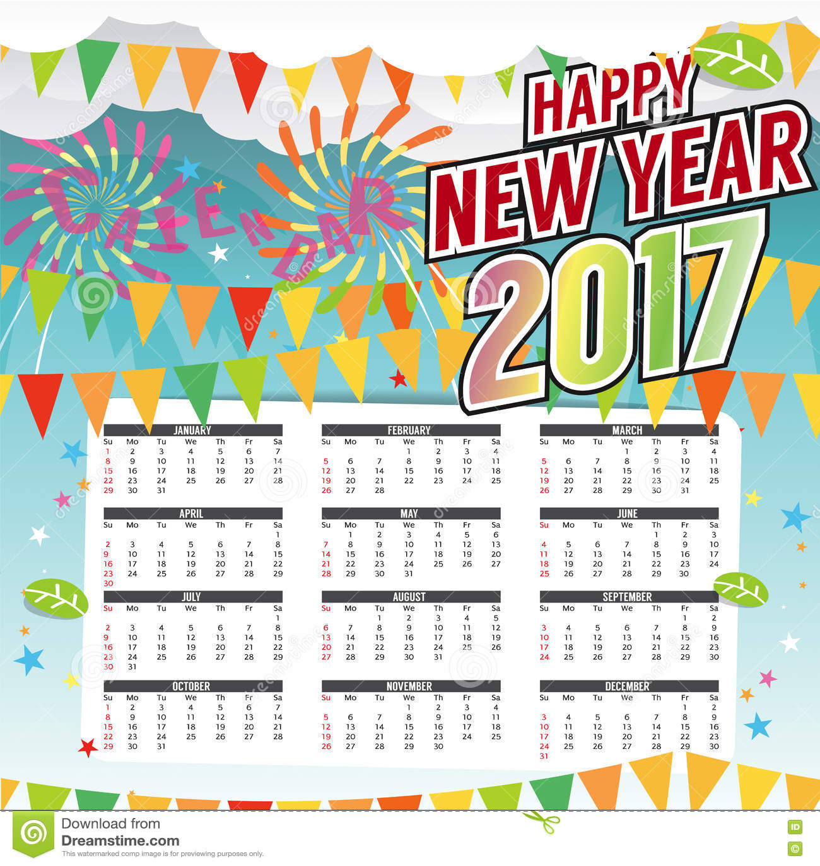 Happy New Year Calendar : Happy new year printable calendar starts sunday