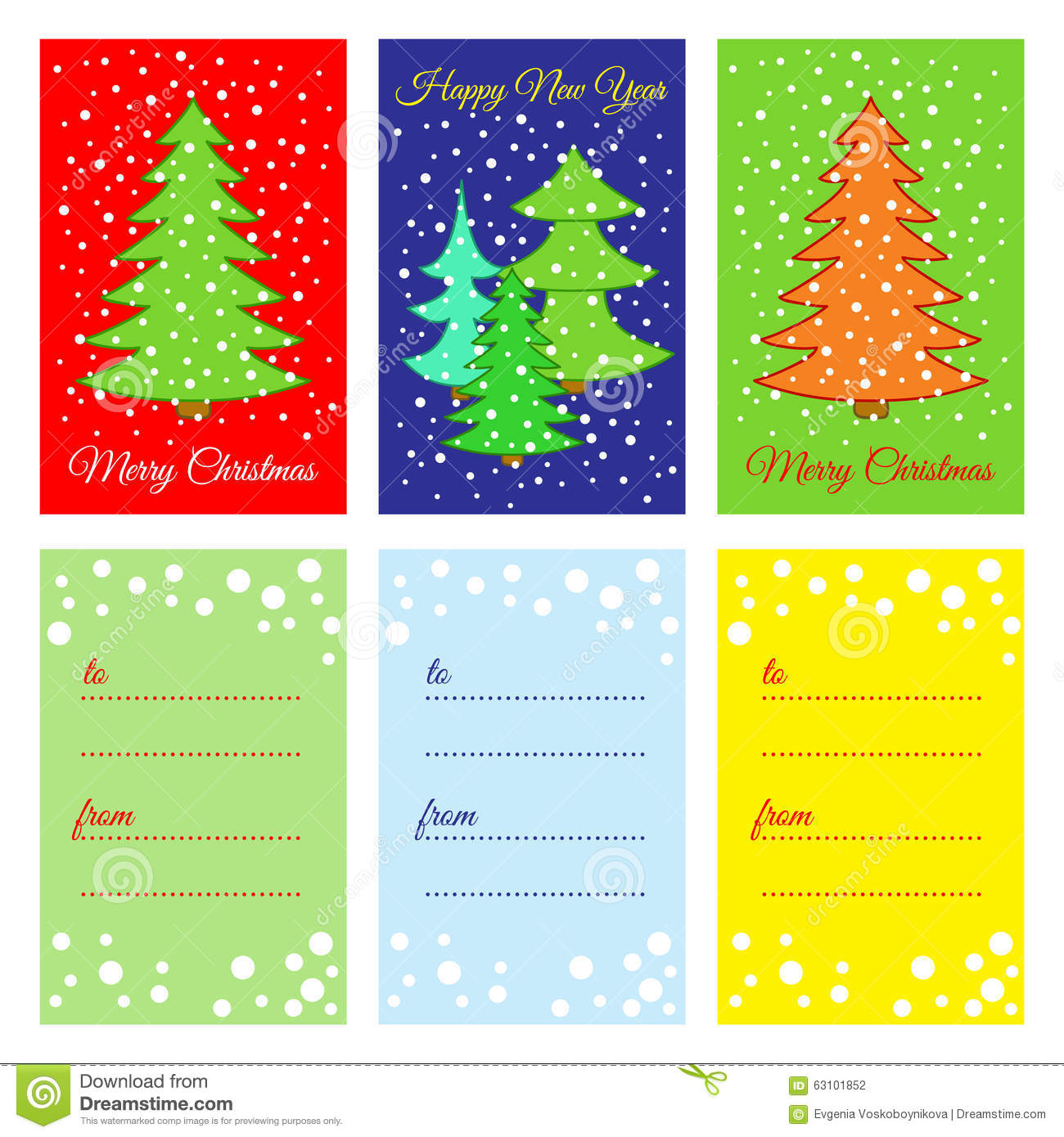 Happy New Year. Printable Cards. Stock Vector - Image ...