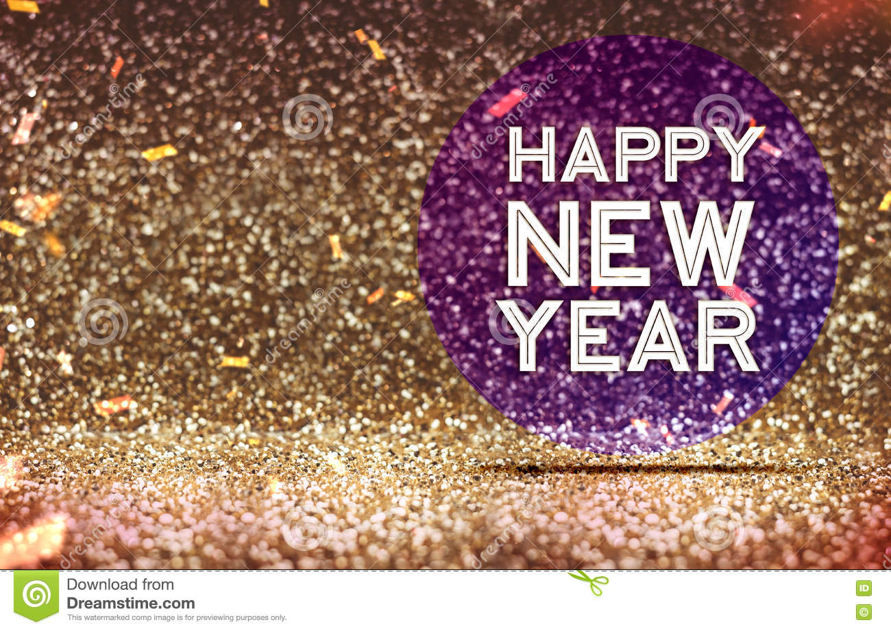 happy new year on purple circle in gold color abstract glitter b