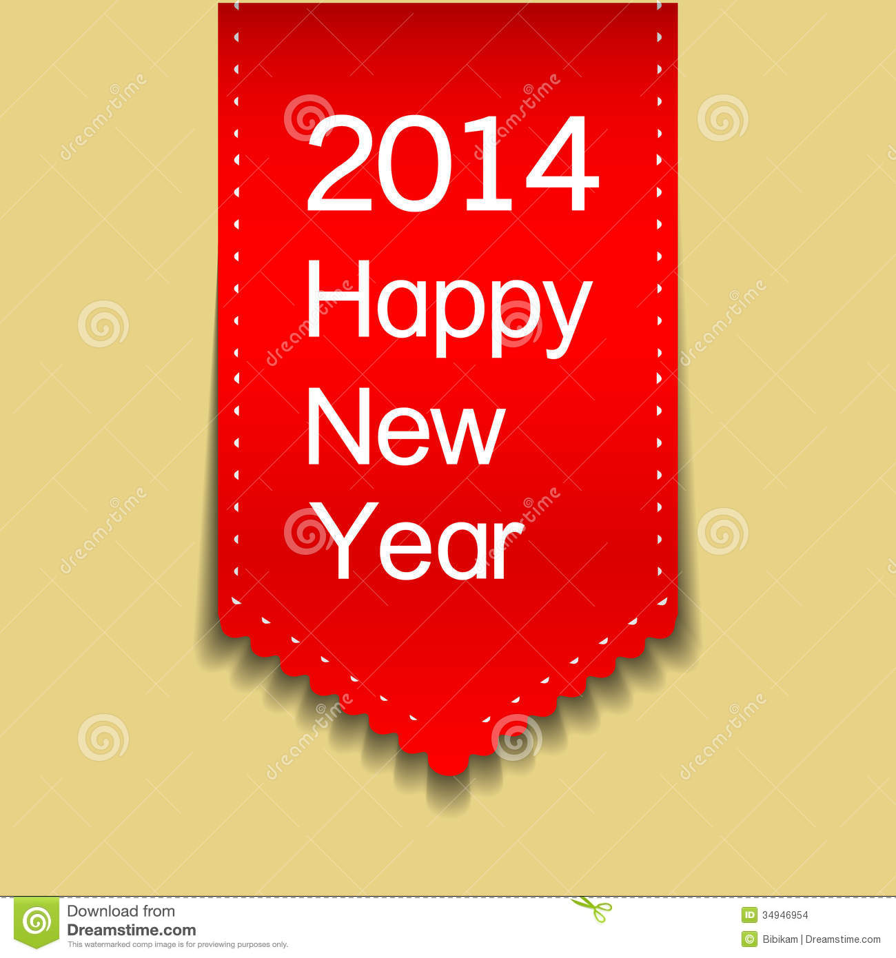 happy new year red ribbon card