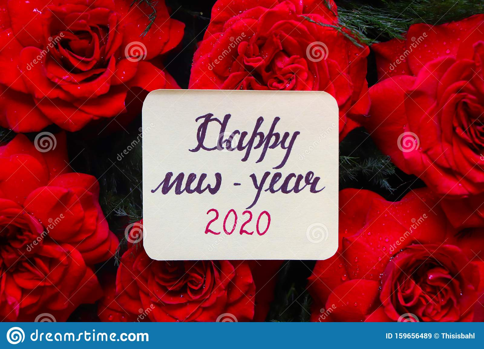 Happy New Year 2020 With Red Roses. Stock Image - Image of ...