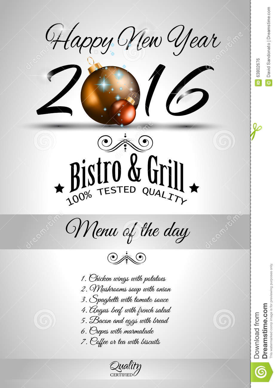 2016 happy new year restaurant menu template