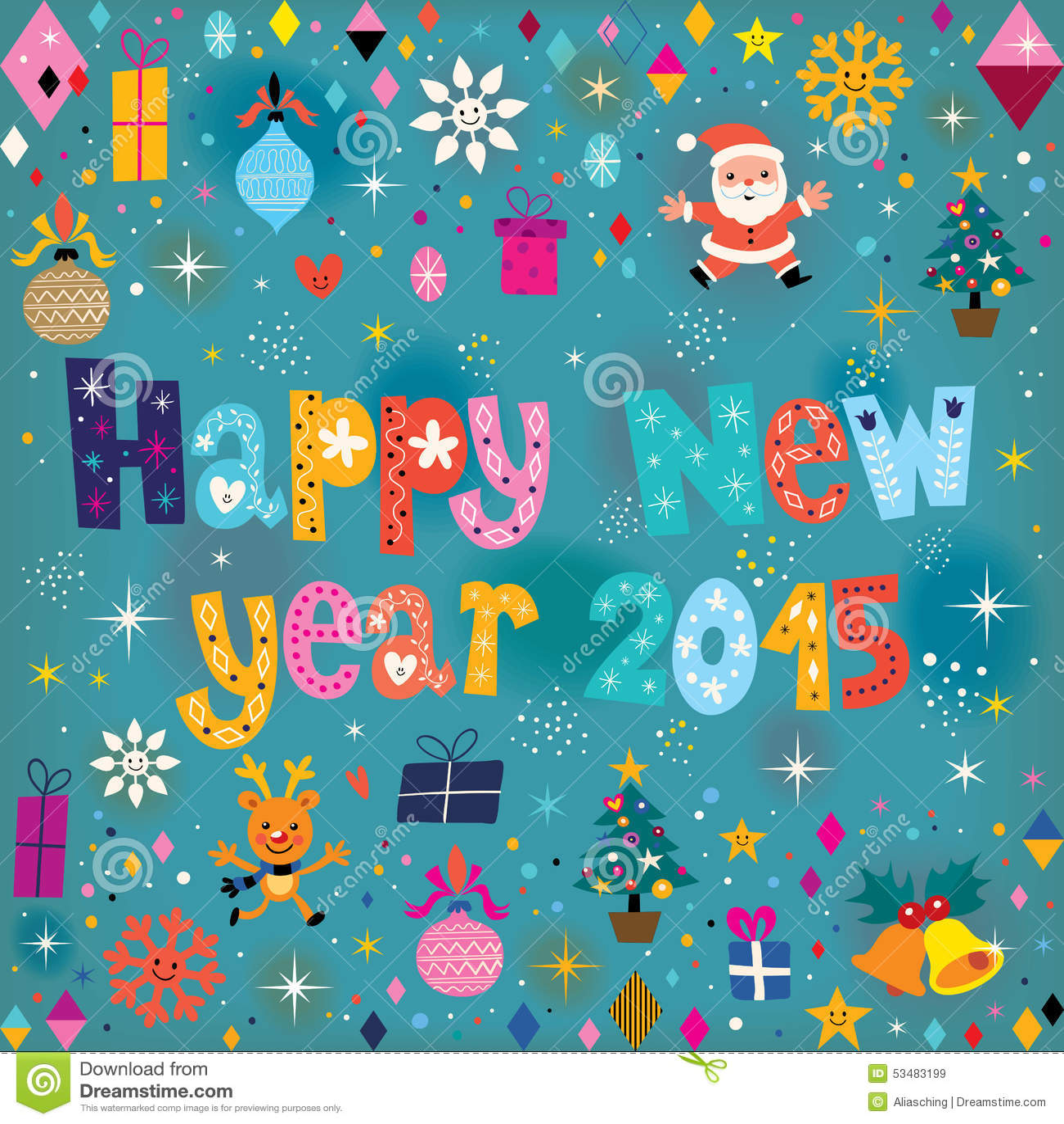 Happy New Year 2015 Retro Greeting Card Stock Vector Illustration
