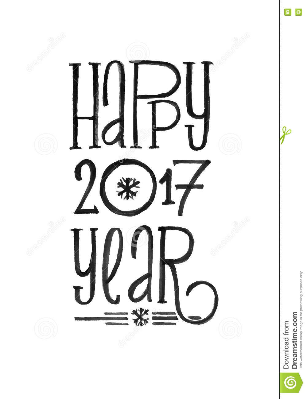 Happy New Year Retro Vector Poster. Black And White Monochrome ...