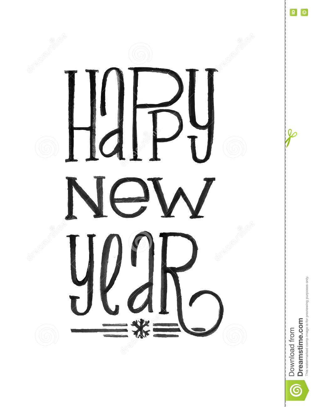 happy new year retro vector poster black and white monochrome design