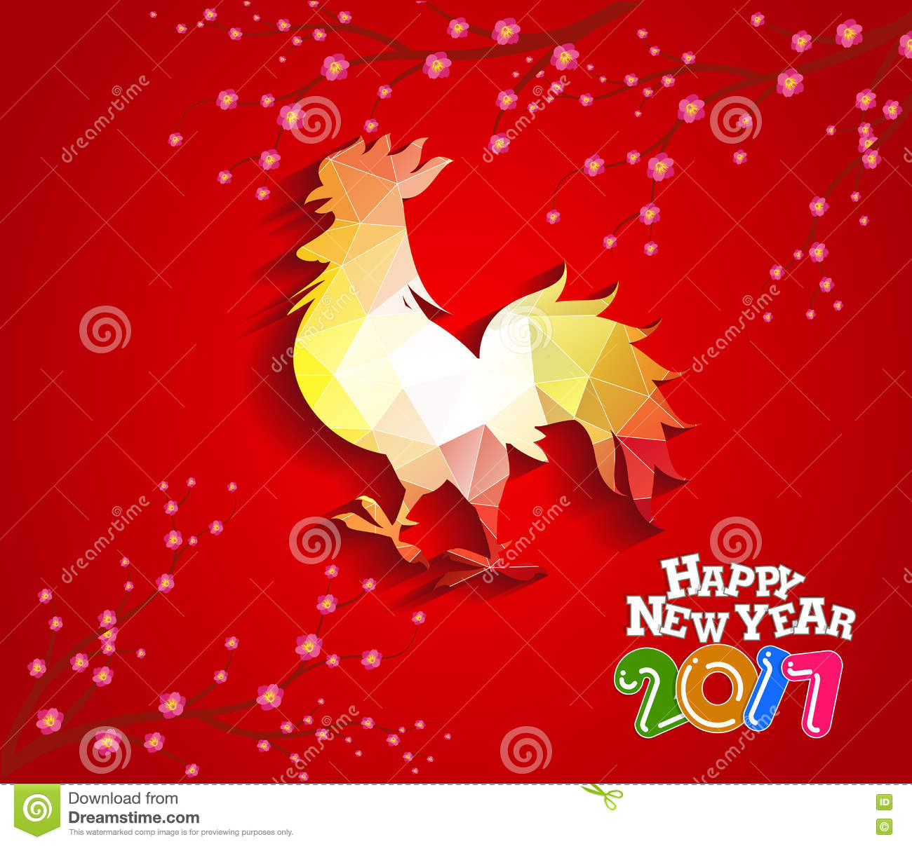 Happy New Year 2017 With The Rooster Design For Lunar New Year Stock