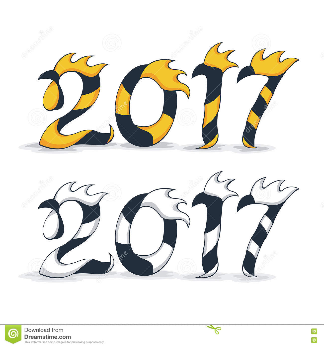 Happy New Year 2017 With Rooster Stock Vector Illustration Of