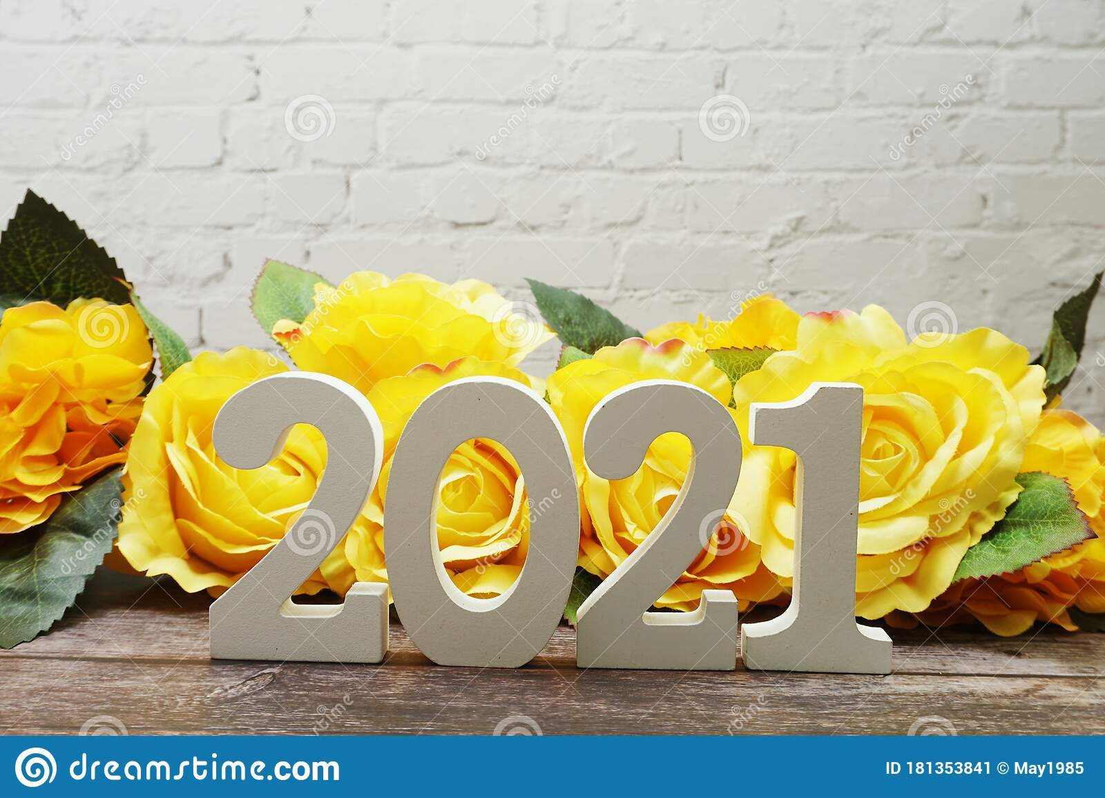 Happy New Year 2021 Letters With Roses Flower Decoration ...