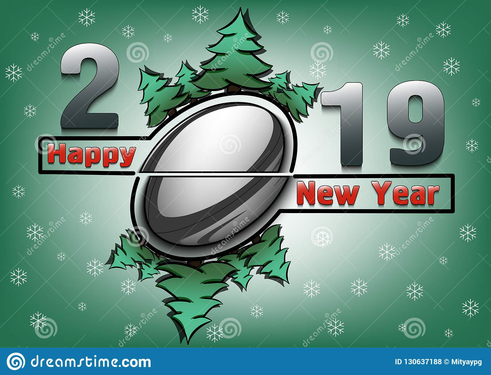 Happy New Year 2019 And Rugby Ball Stock Vector Illustration Of