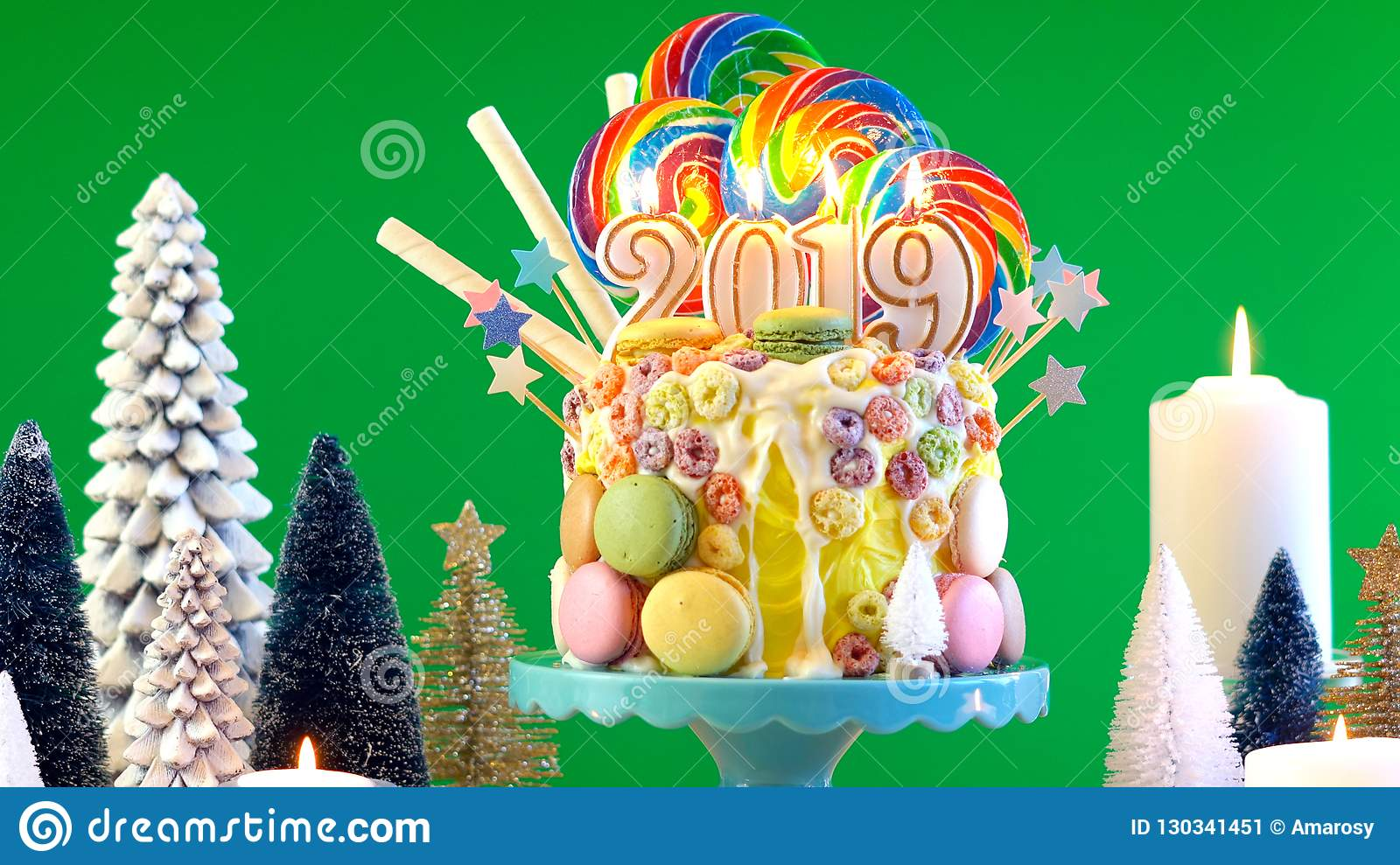 2019 Happy New Year S Candy Land Lollipop Drip Cake Stock Image