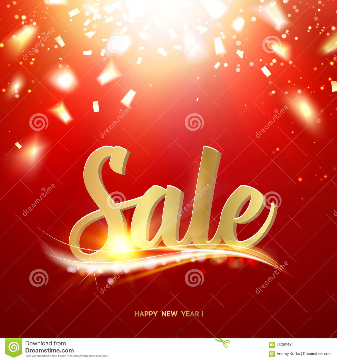 Happy new year Sale card stock vector. Illustration of ...