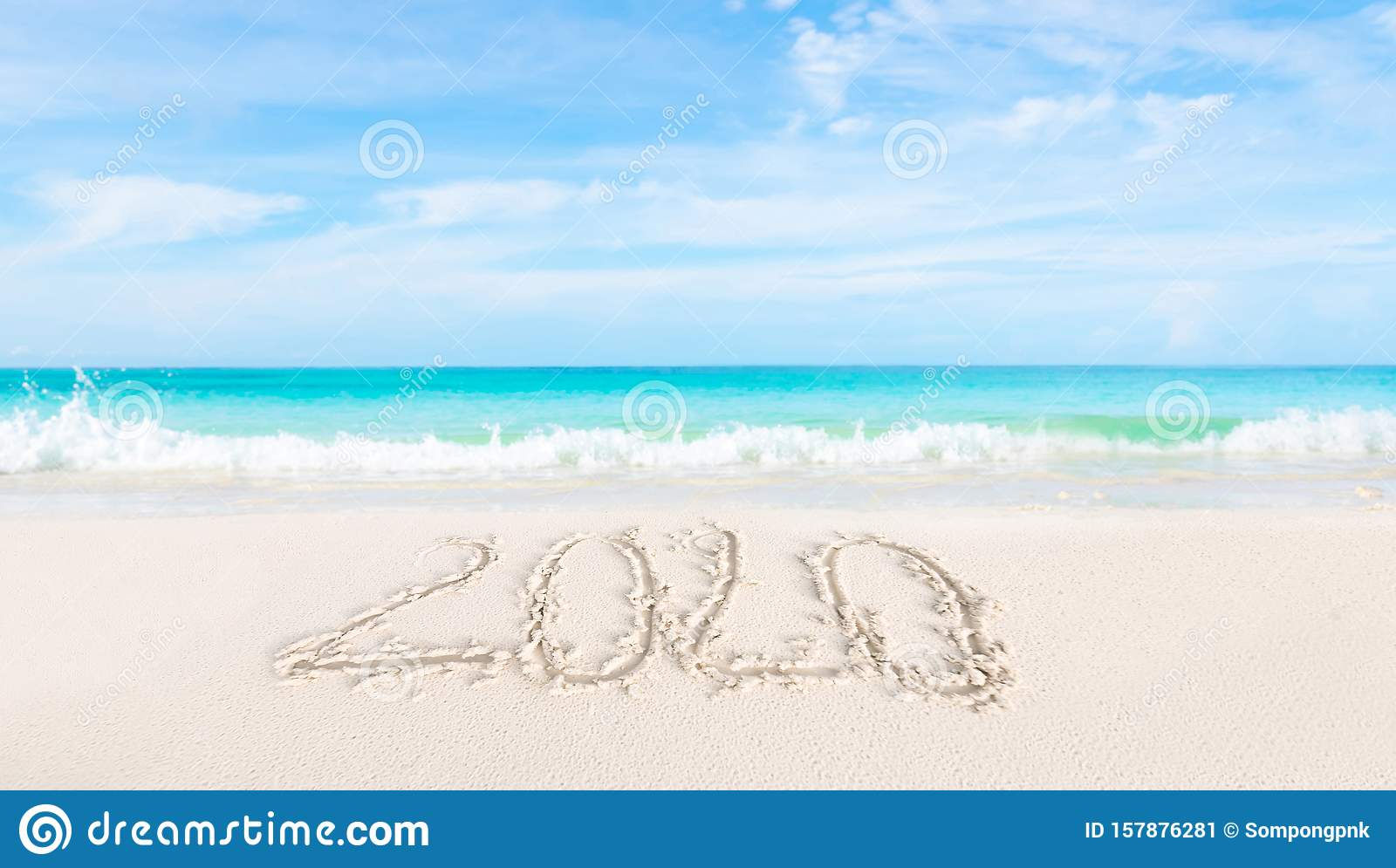 Happy New Year 2020 On The Sand And Beach Stock Image