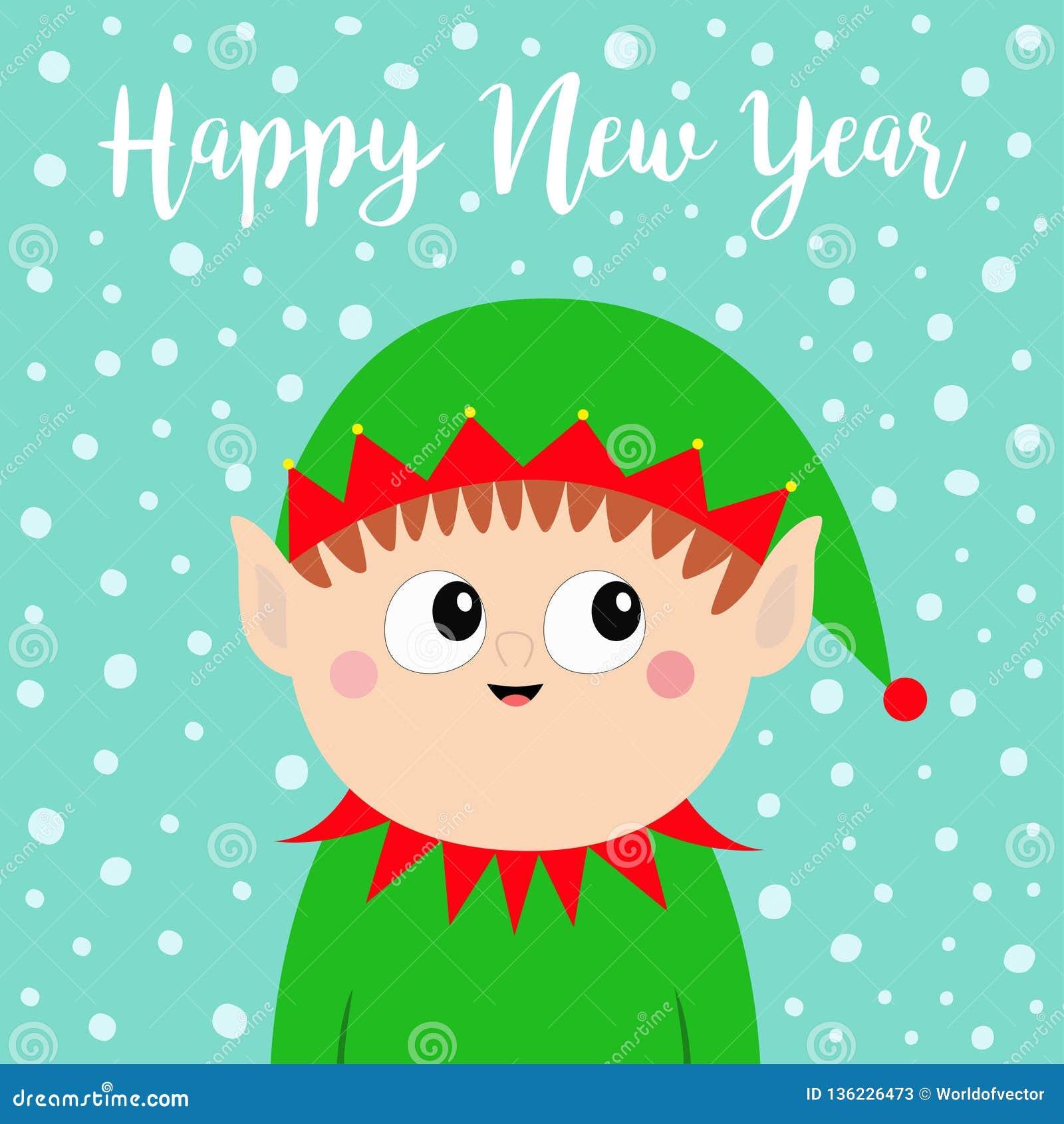31e0075ff Happy New Year. Santa Claus Elf Head Face Icon. Green Hat. Merry ...