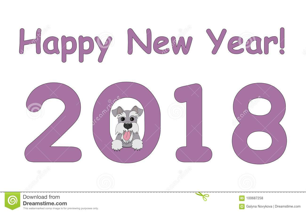 Happy New Year With Schnauzer Stock Vector - Illustration of card ...