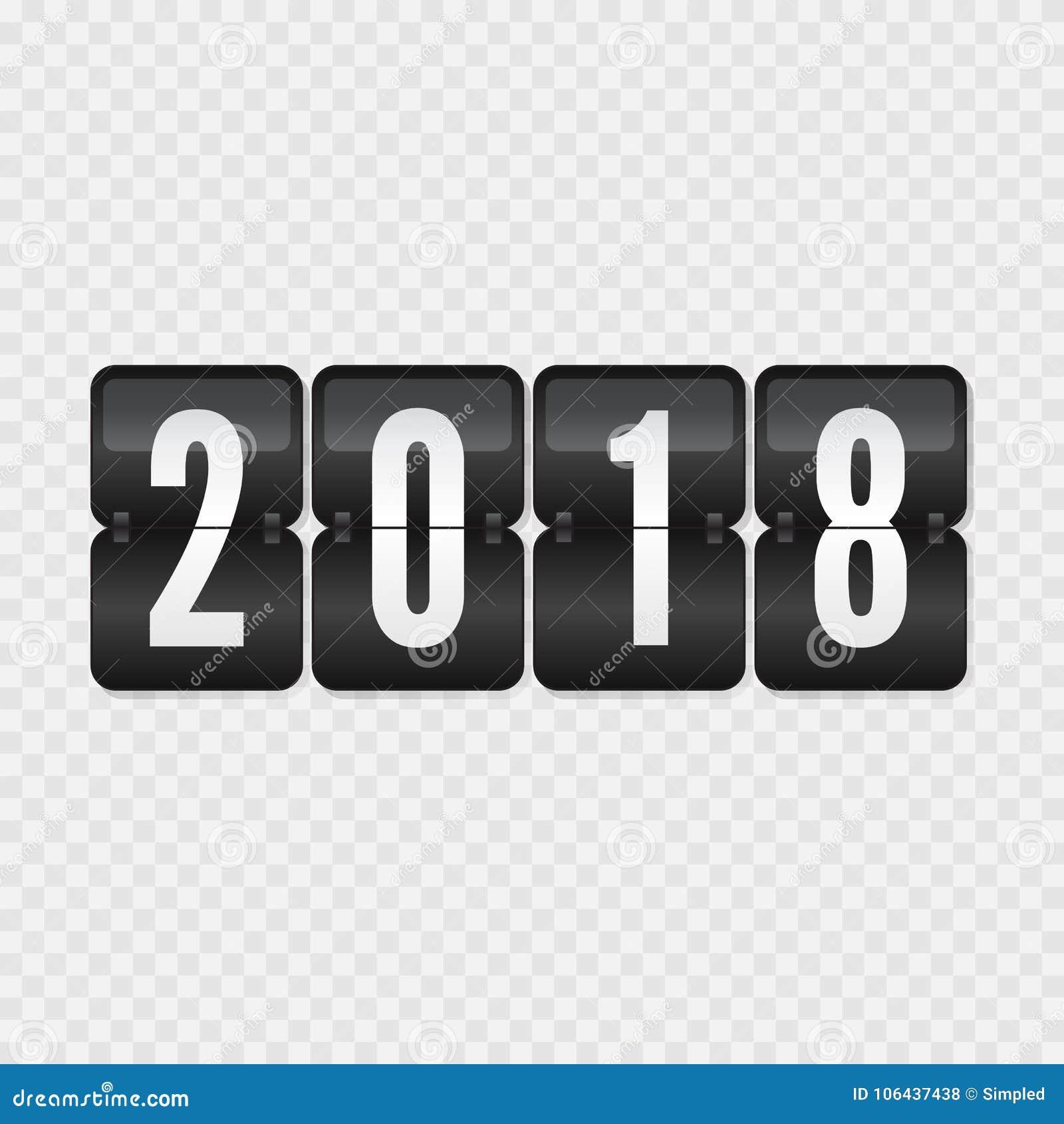 2018 happy new year scoreboard vector illustration flip symbol on transparent background