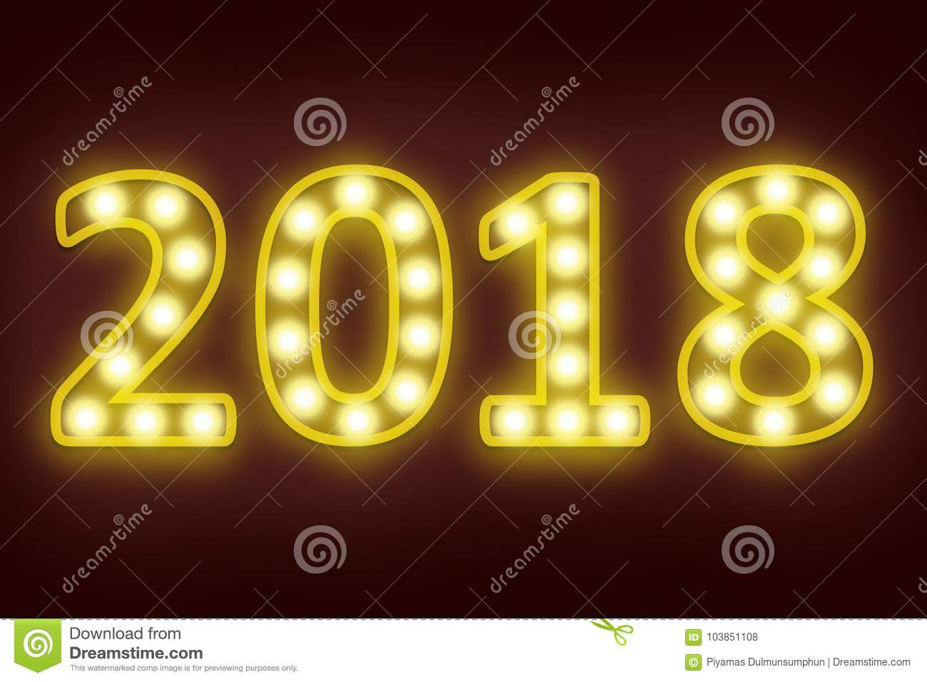 2018 happy new year for seasonal and holiday background.