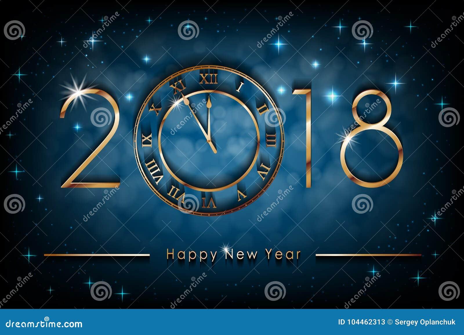 Happy New 2018 Year Illustration On Blue Shiny Background Greetings