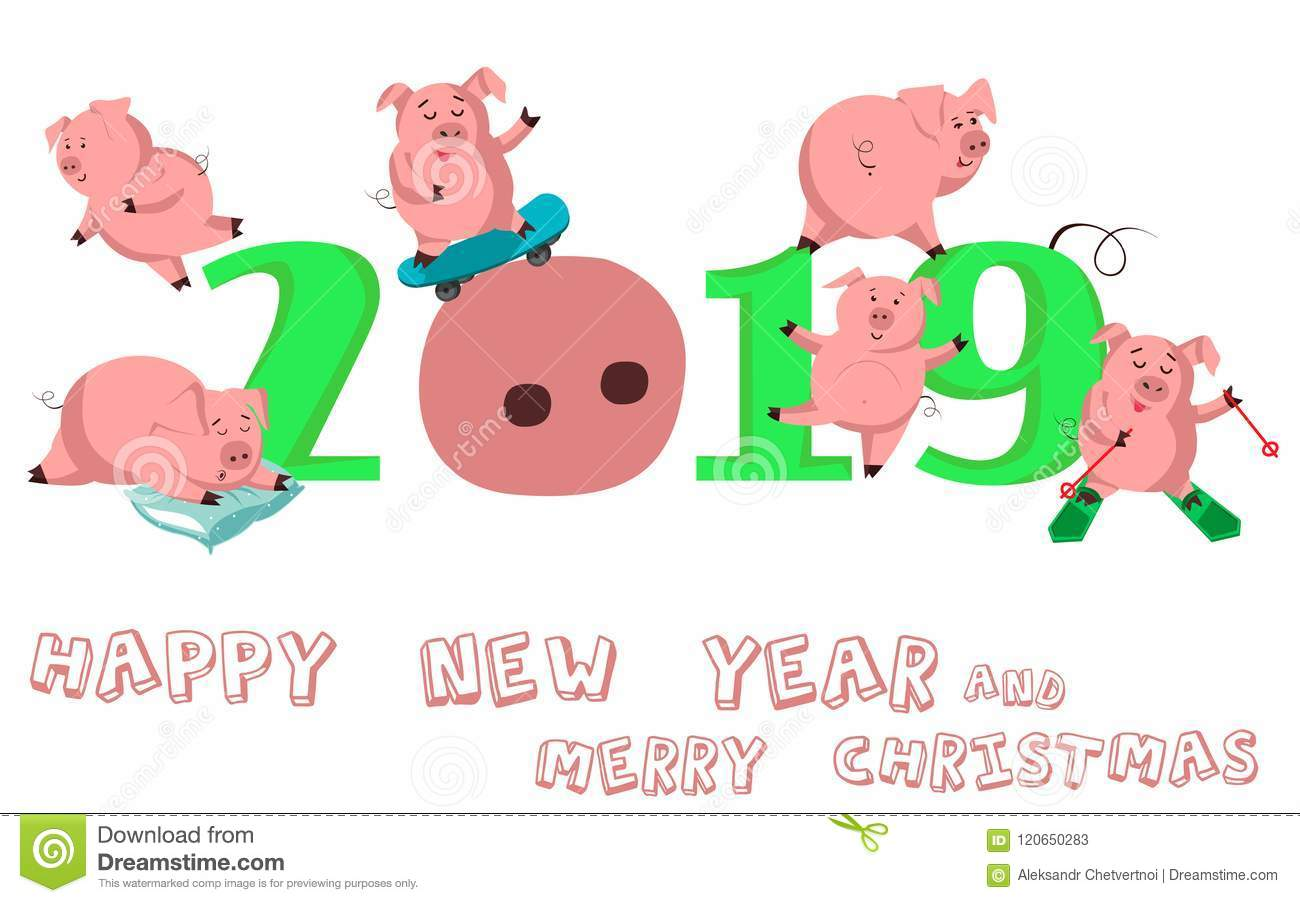 Happy New Year Set Of Cute Funny Pig Chinese Symbol Of The 2019