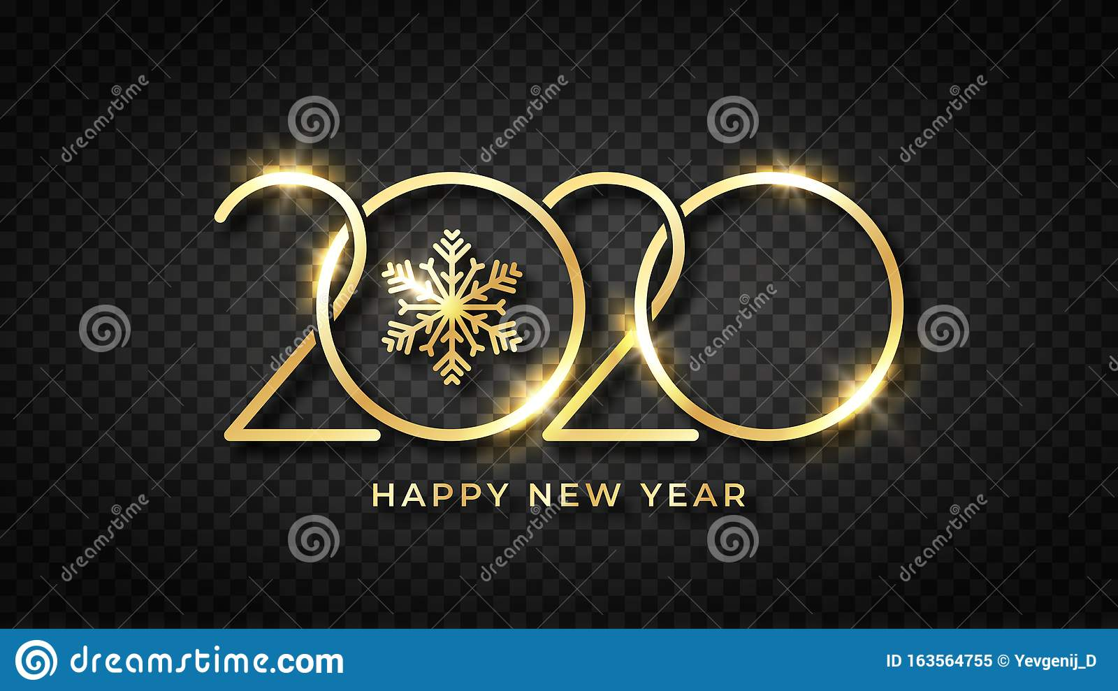 Happy New 2020 Year Shiny Gold Text And Snowflake With