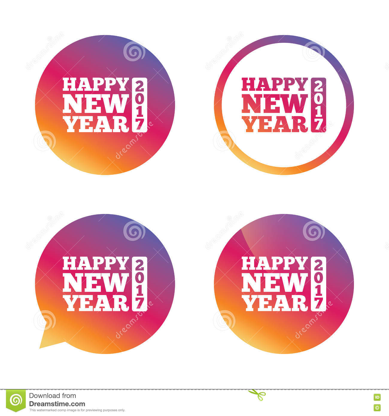 Happy New Year 2017 Sign Icon. Christmas Symbol. Stock Vector ...