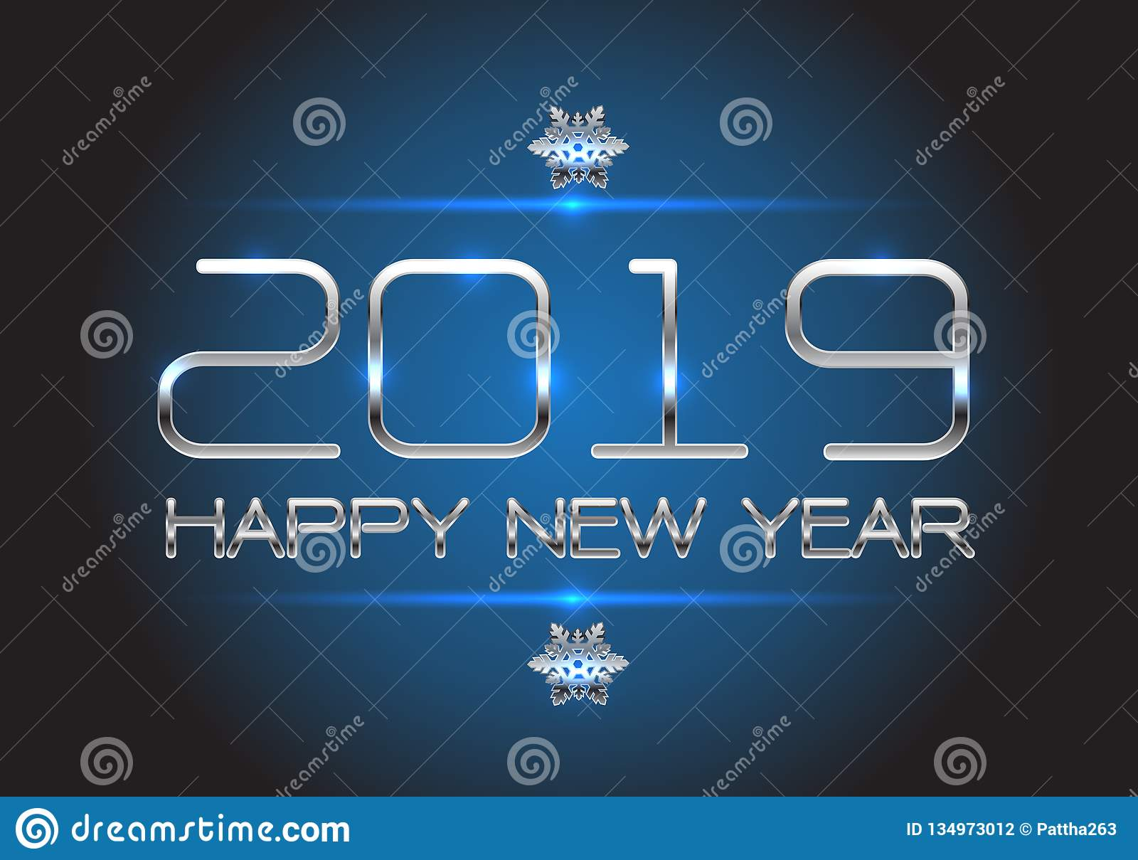 Happy New Year 2019 Silver On Blue Design For Holiday ...